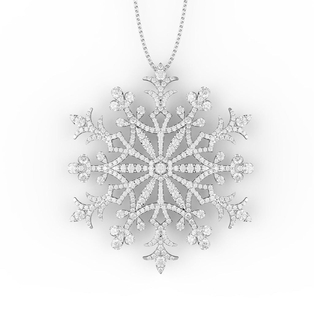 diamond white gold pendant snowflake jewels in product bombay