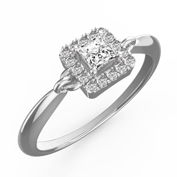 Diamond Halo Princess Engagement Ring - KARP Jewellery