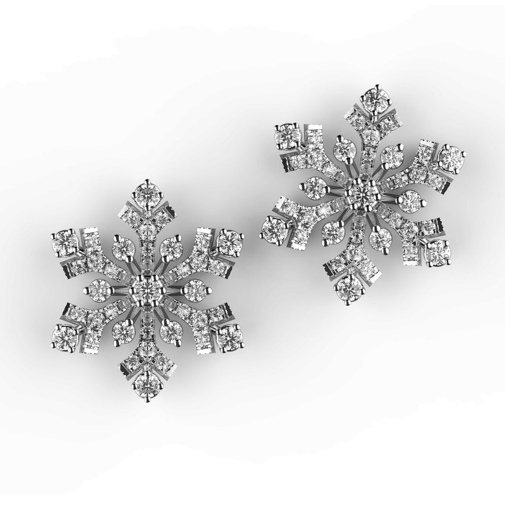 Sparkly Snowflake Diamond Stud Earrings - KARP Jewellery