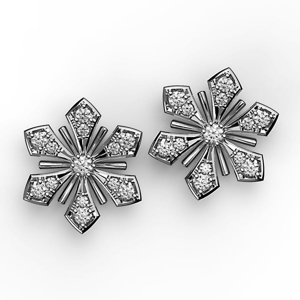 Radiant Diamond Flower Stud Earrings - KARP Jewellery