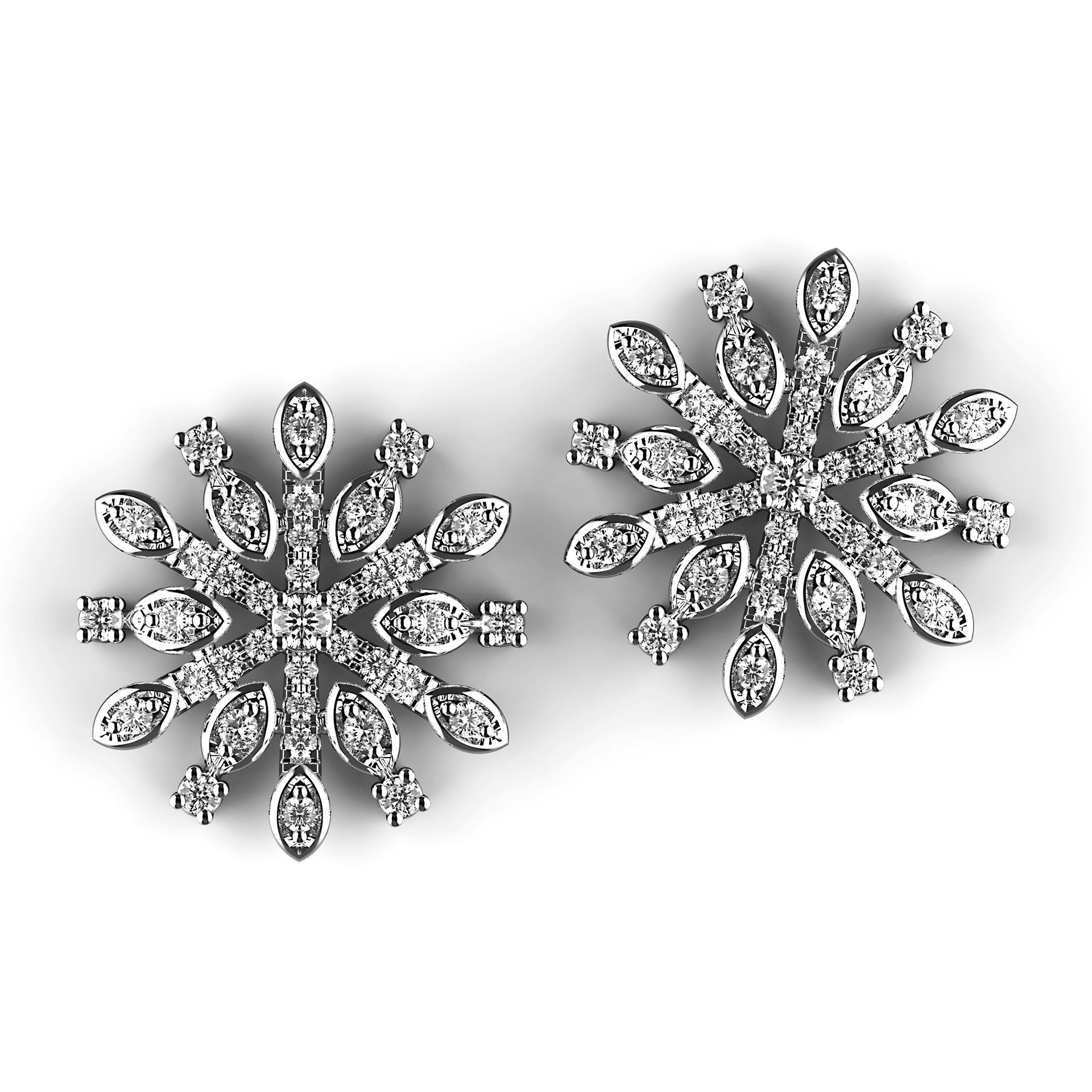 Diamond Snowflake Cluster Stud Earrings - KARP Jewellery