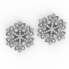 Dazzling Diamond Flower Stud Earrings