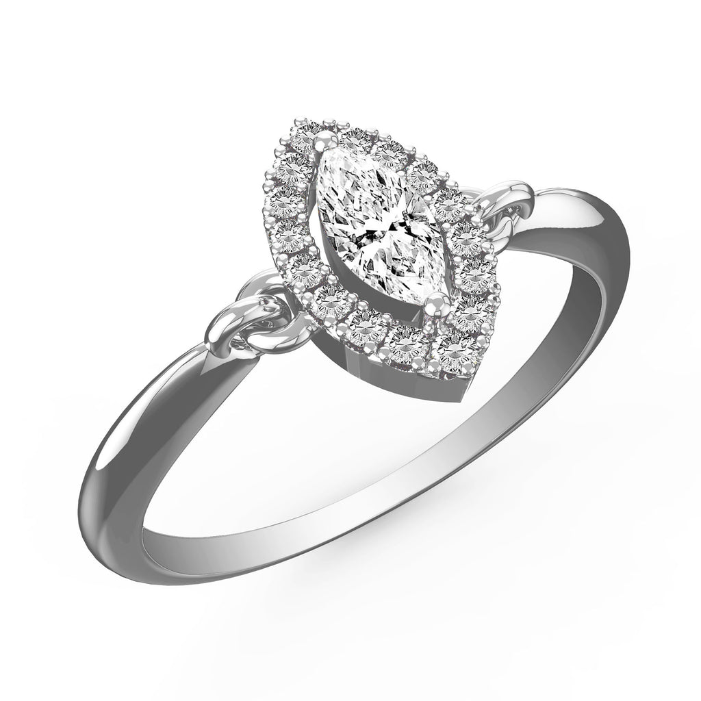 Daring Diamond Halo Marquise Ring