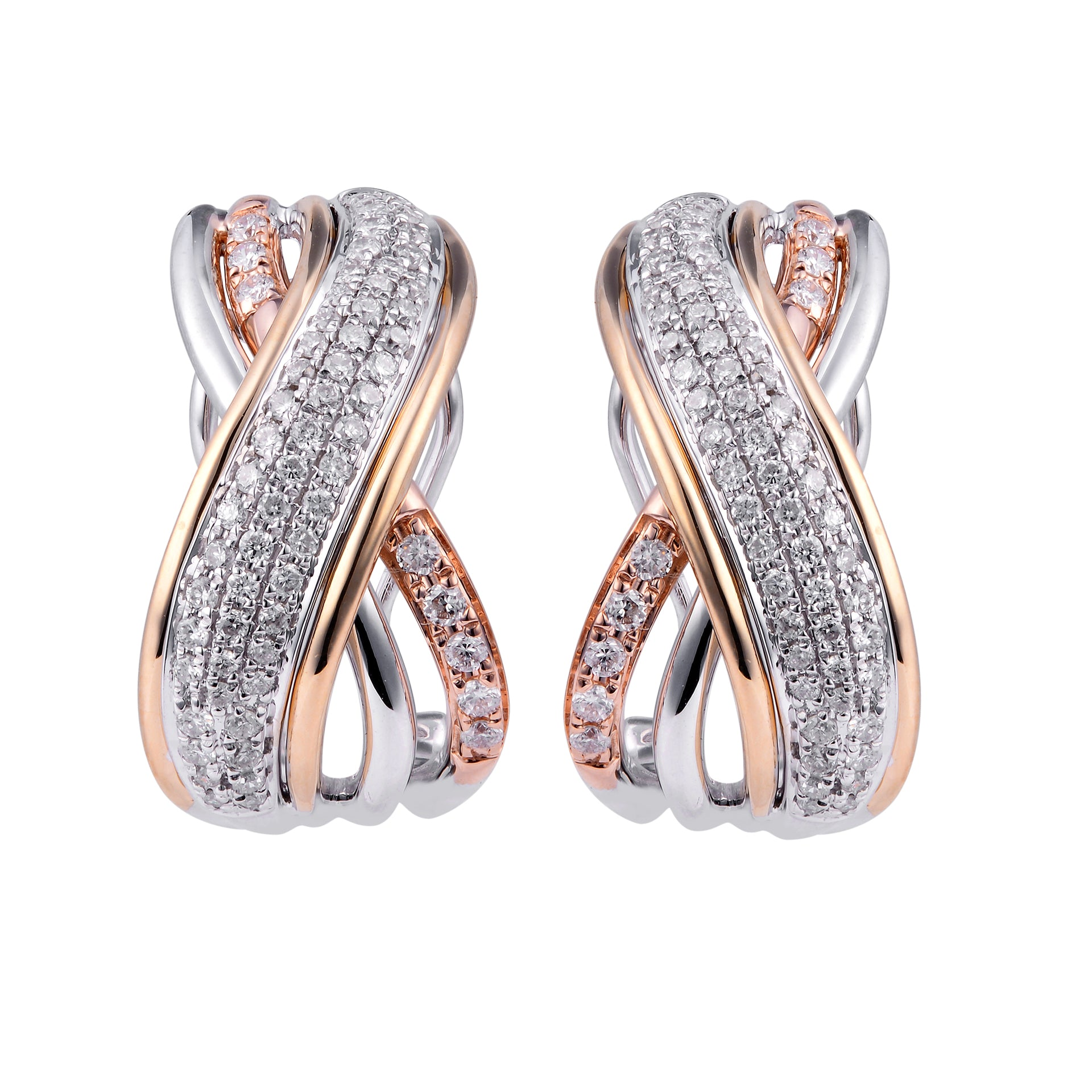 Tri Color Diamond Hugging Earrings - KARP Jewellery