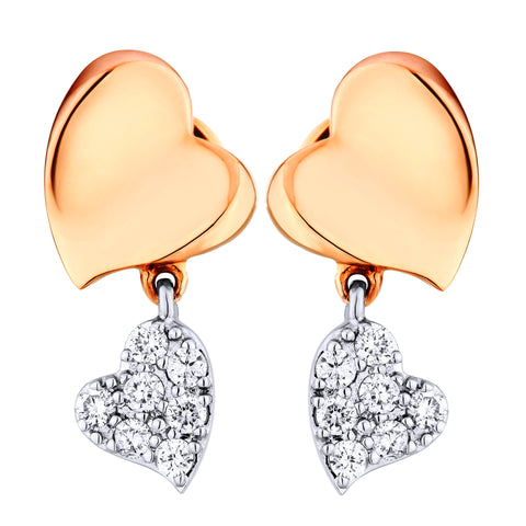 Unique Two Tone Heart Shape Diamond Earrings - KARP Jewellery