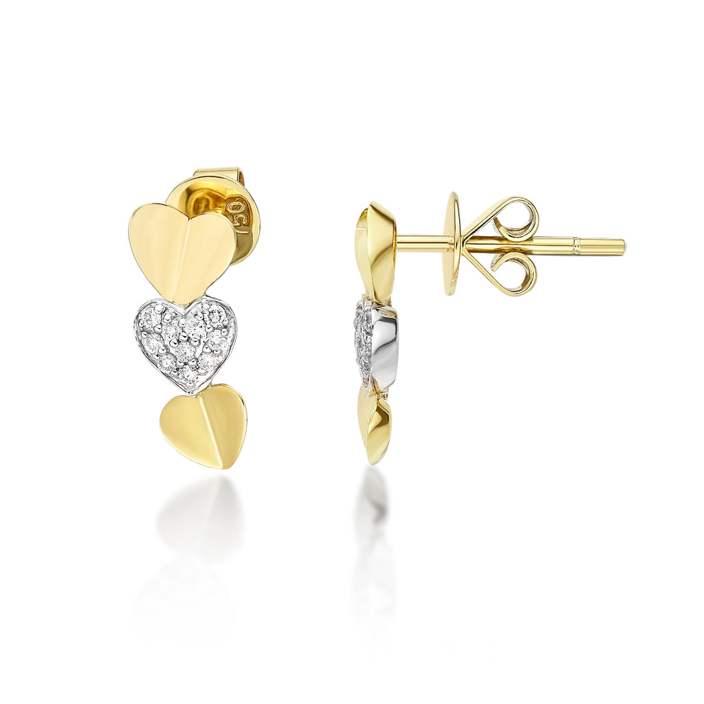 Minimalist Two Tone Heart Diamond Earrings - KARP Jewellery