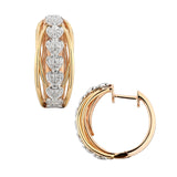 Mini Hoop Tri Color Gold Diamond Earrings