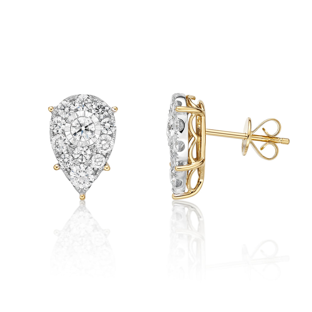 Classic Illusion Diamond Two Tone Earrings - KARP Jewellery