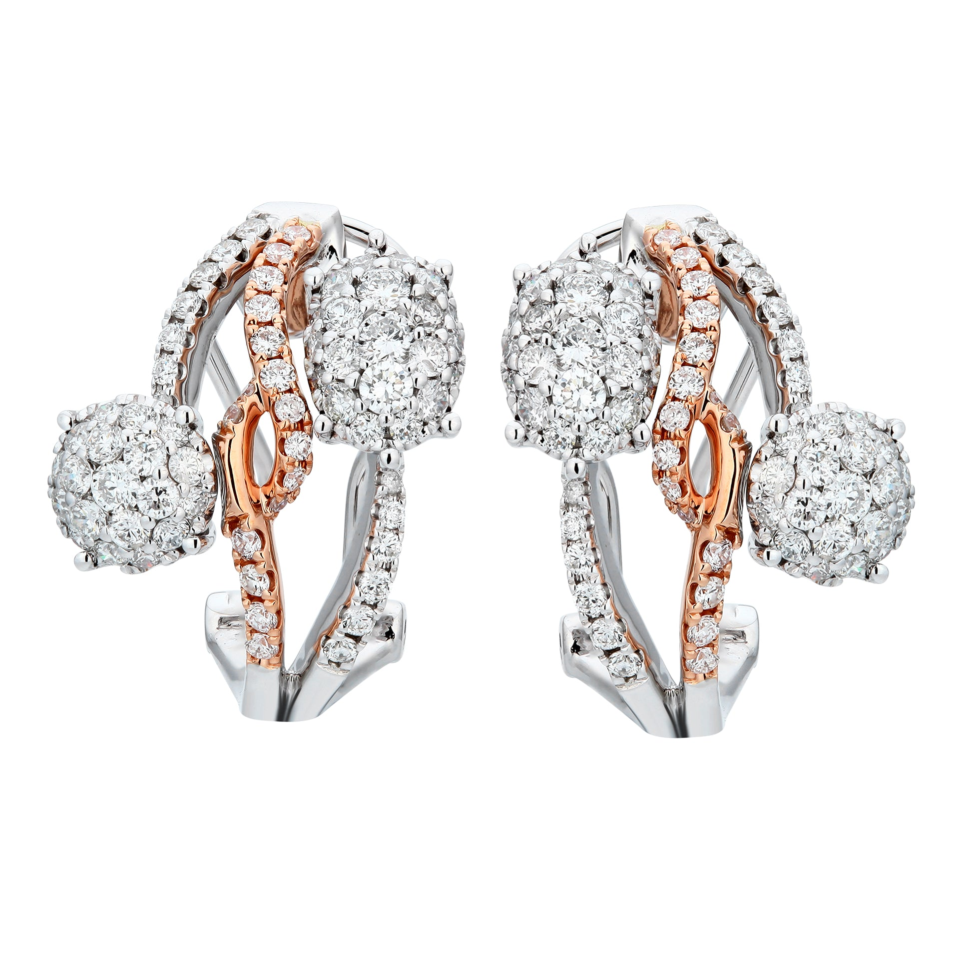 Dainty Two Tone Diamond Earrings - KARP Jewellery