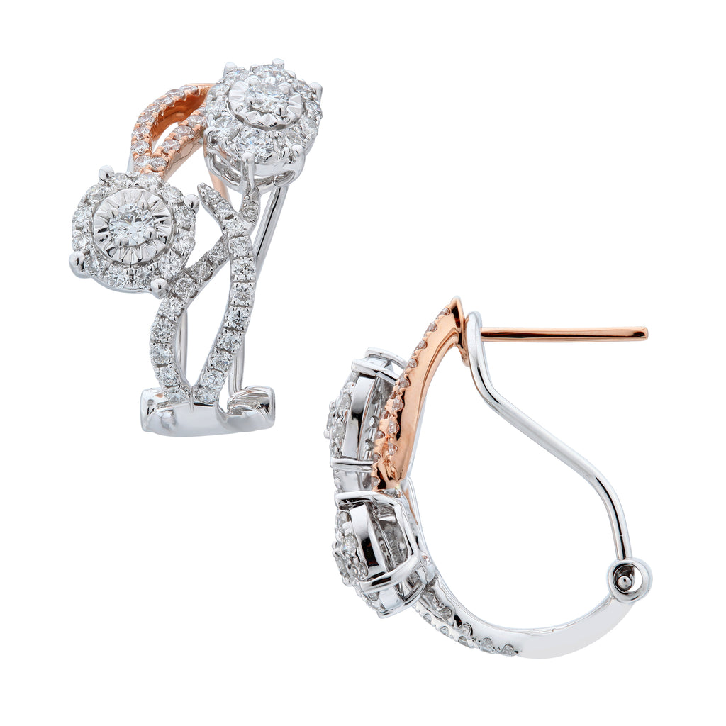 Stylish Two Tone Diamond Earrings - KARP Jewellery