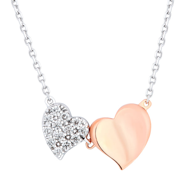 Unique Two Tone Heart Shape Diamond Chain Necklace