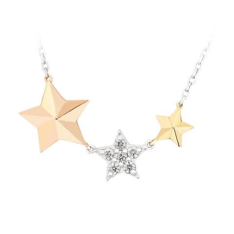 Dangling Twinkle Star Diamond Chain Necklace - KARP Jewellery