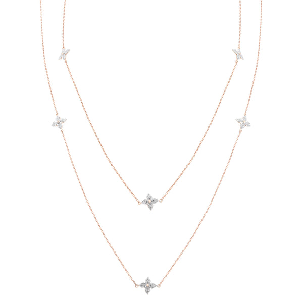 Diamond Station Chain Long Necklace