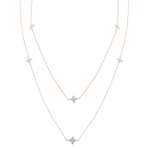 Diamond Station Chain Long Necklace - KARP Jewellery