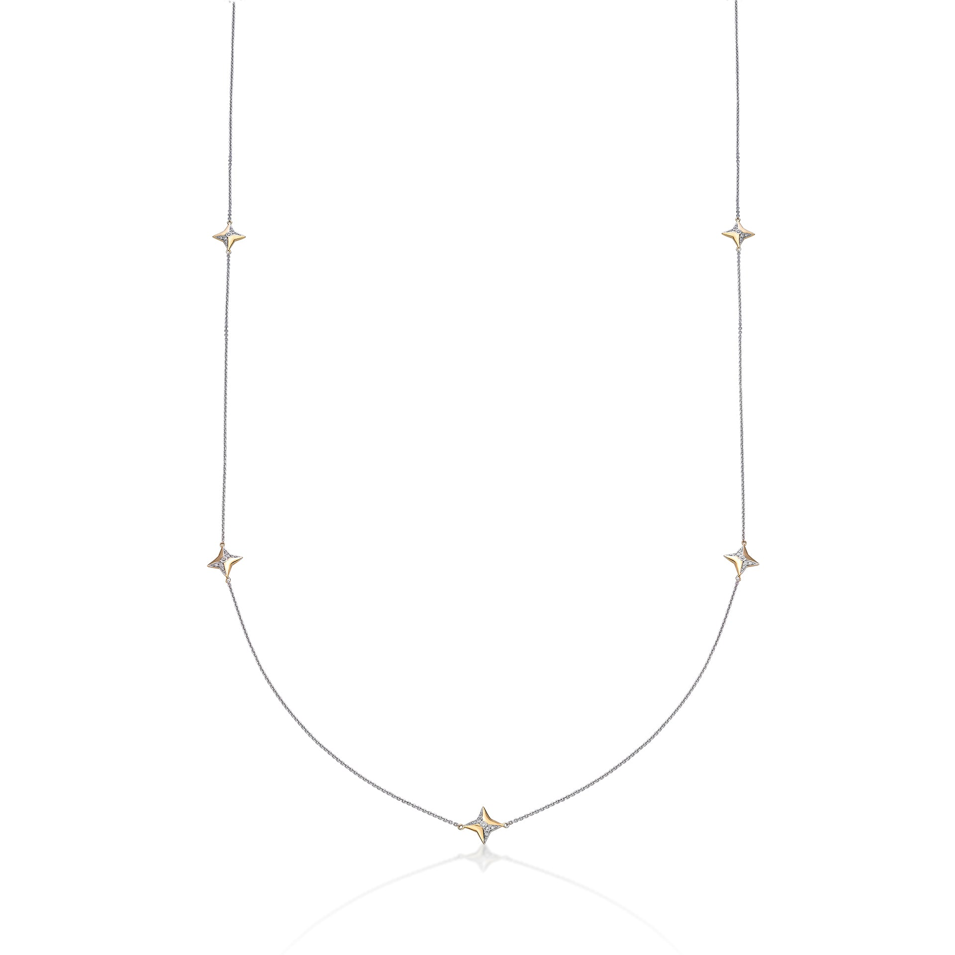 "Geometric Two Tones Gold 32"" Long Station Chain - KARP Jewellery"