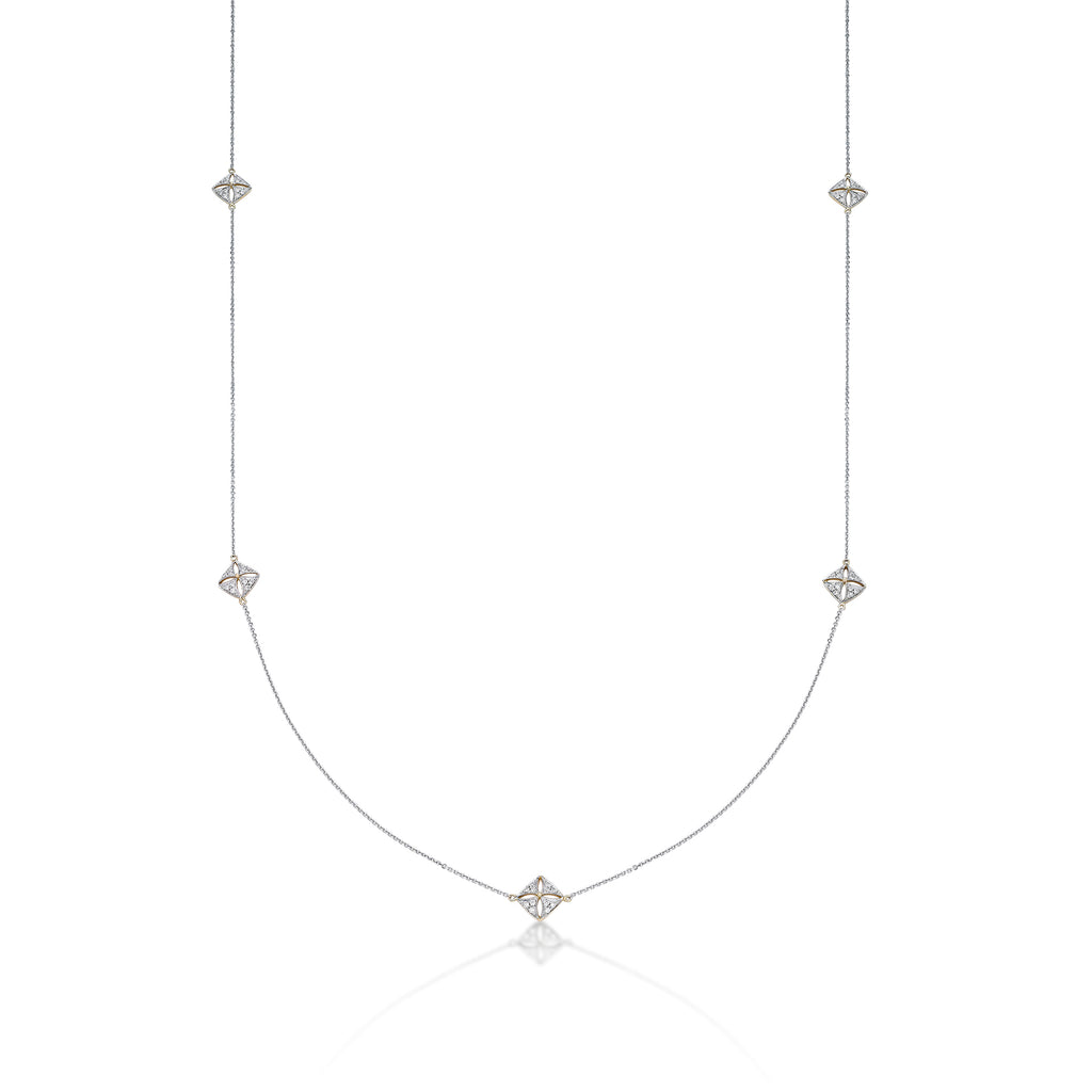 "White & Yellow Gold 32"" Long Station Chain - KARP Jewellery"