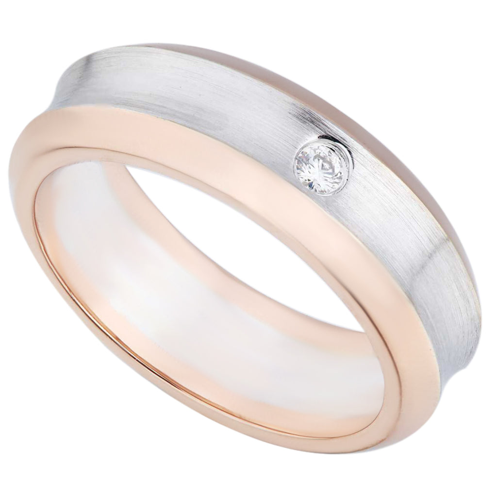 Comfort Fit Two Tones White & Rose Gold Diamond Ladies Ring