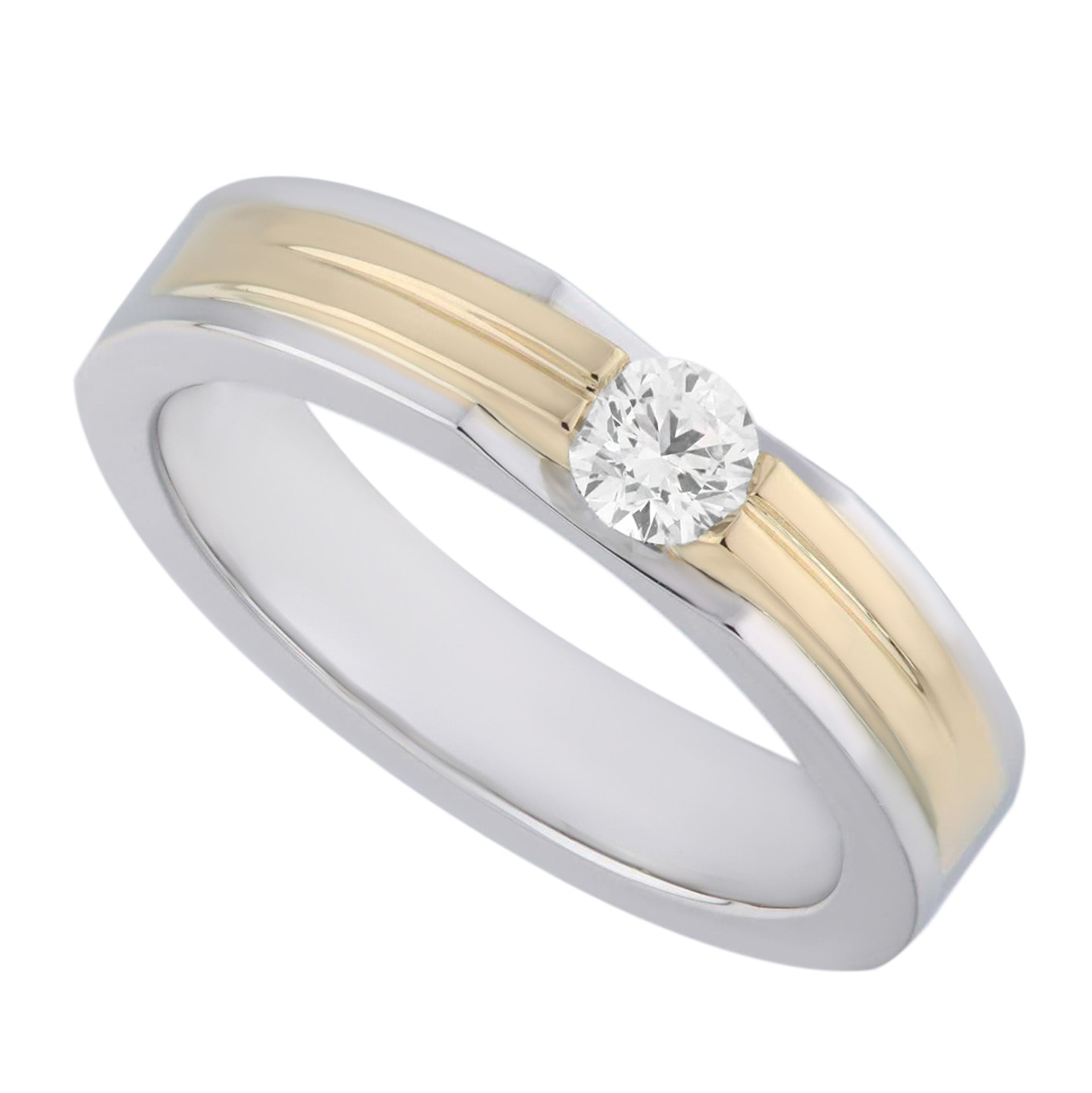 Two Tones White & Yellow Gold Modern Style Ladies Diamond Ring - KARP Jewellery