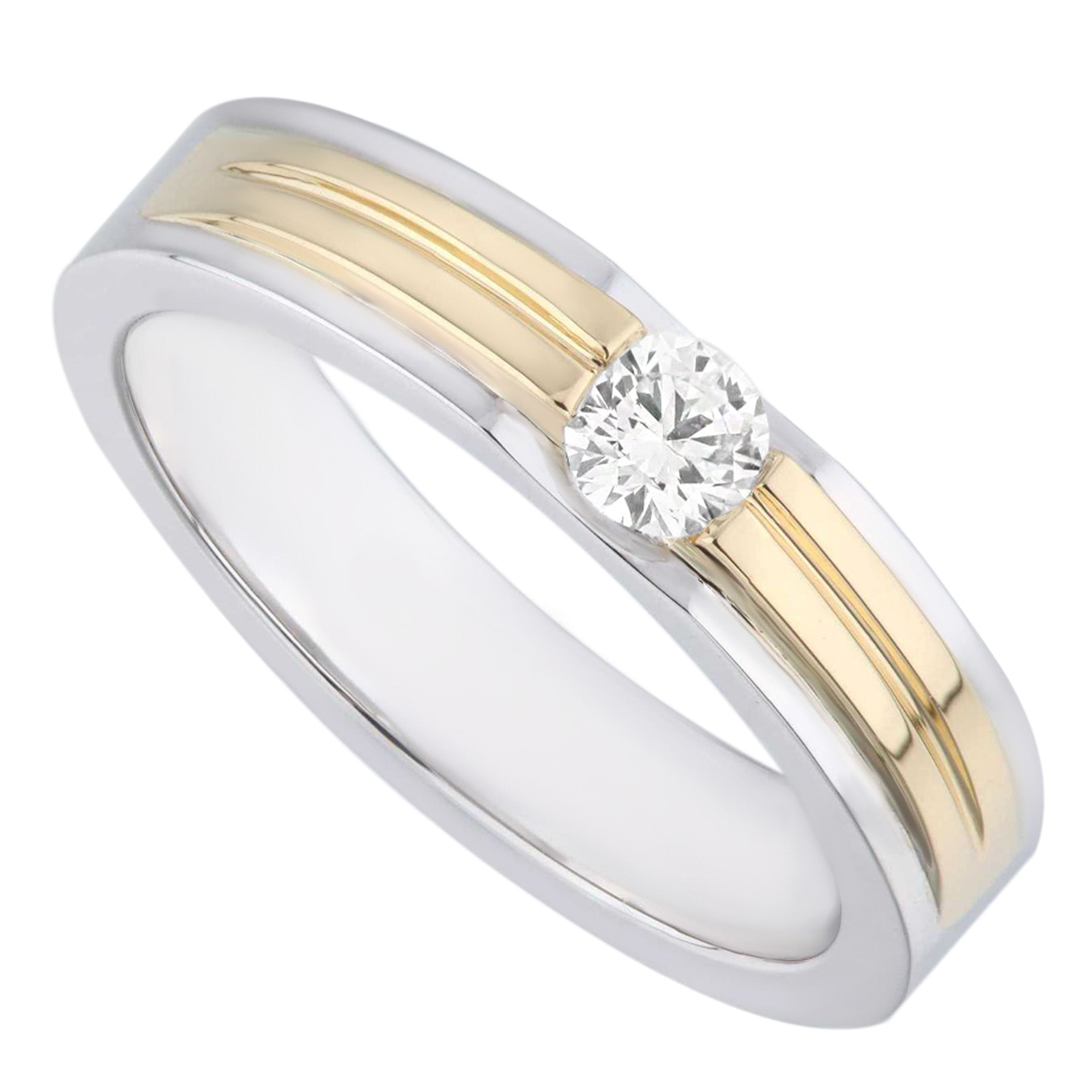 Two Tones White & Yellow Gold Modern Style Men's Diamond Ring - KARP Jewellery