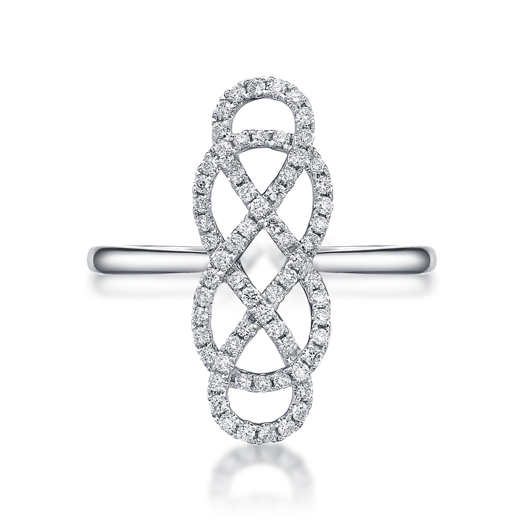 rhodium love bling infinity band ring jewelry double knot mdr plated sterling silver