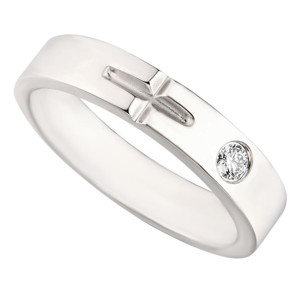 Stylish Cross Diamond Ladies Wedding Ring - KARP Jewellery