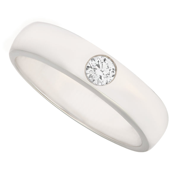Classic Polished Diamond Men' Wedding Ring