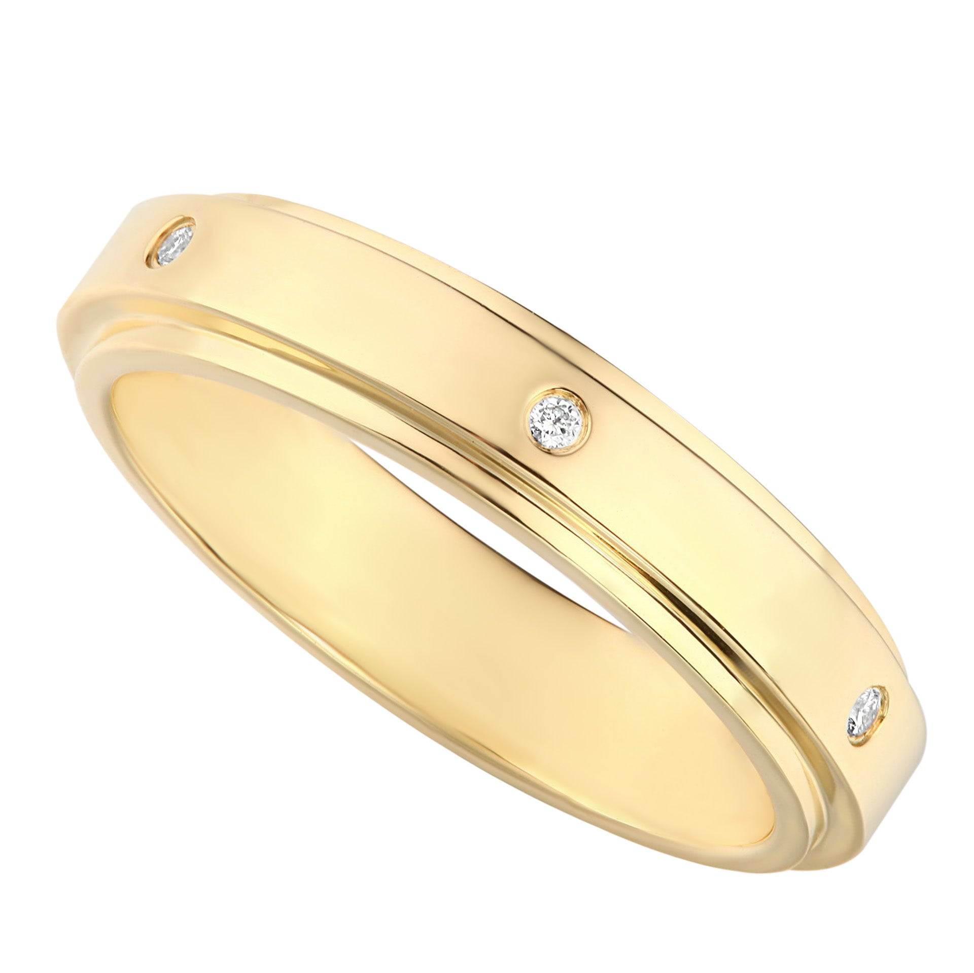 Classic Dome Yellow Gold Diamond Ladies Wedding Ring - KARP Jewellery