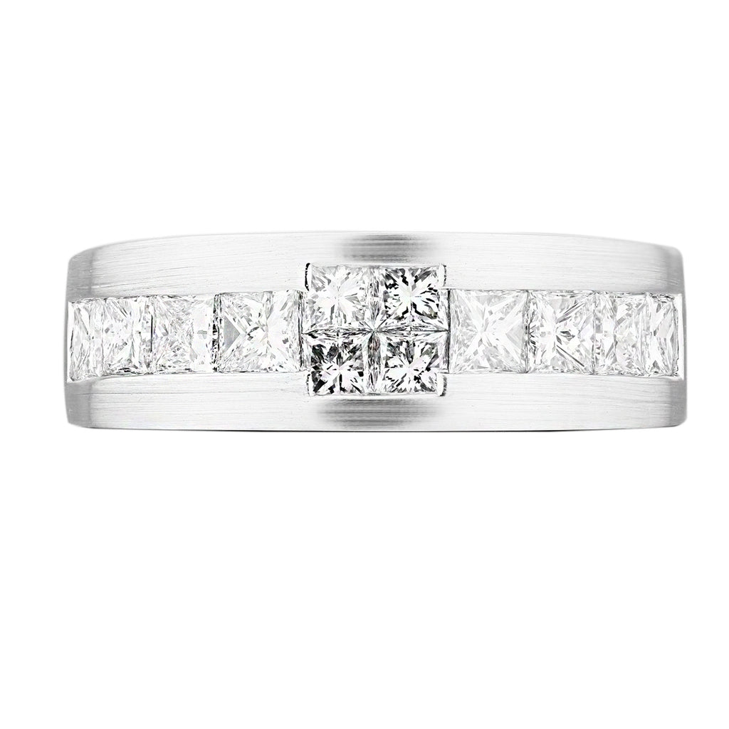 Invisible Set Princess Cut Diamond Men's Ring - KARP Jewellery