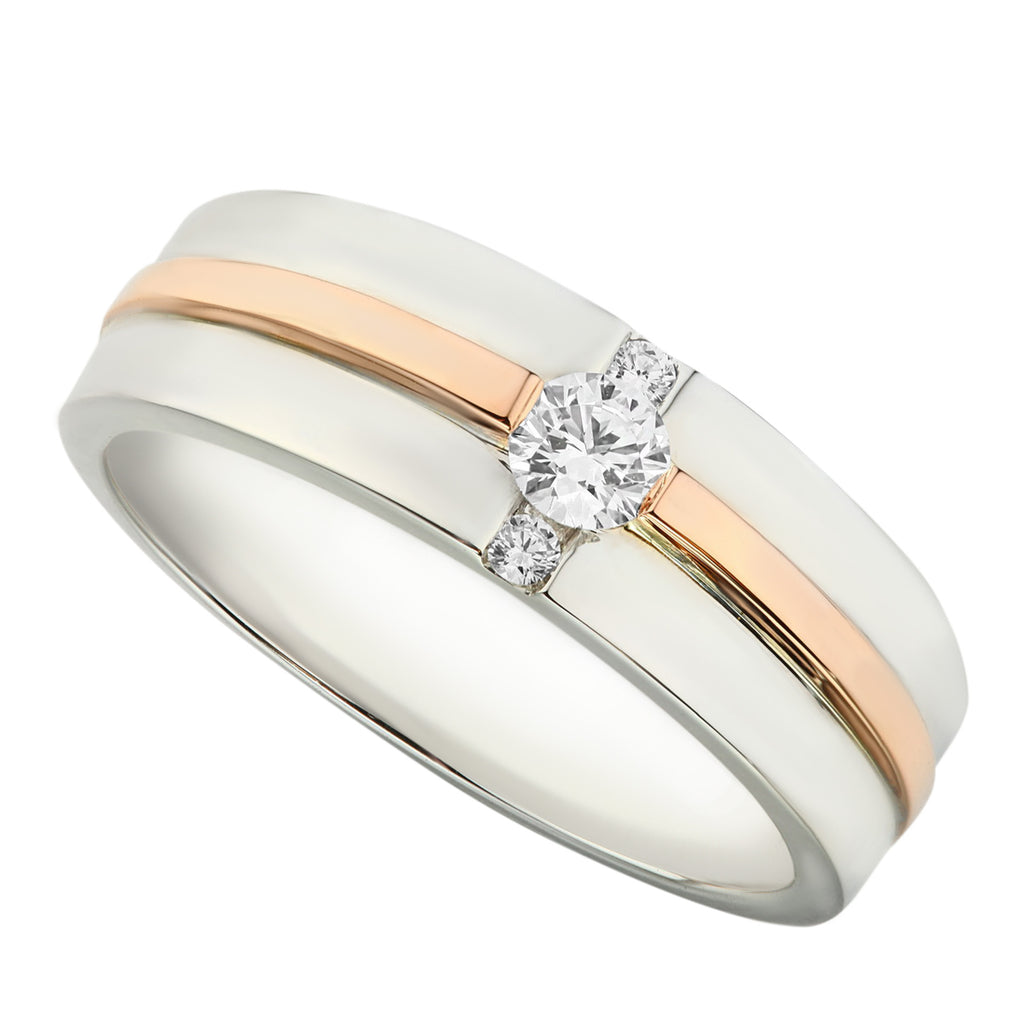 Two Tones White & Rose Gold Half Round Diamond Men's Wedding Ring