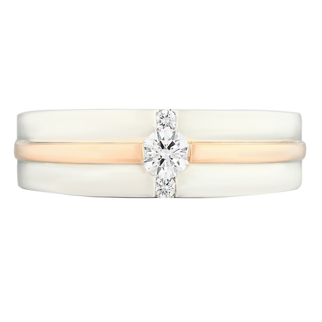 Two Tones White & Rose Gold Half Round Diamond Men's Wedding Ring - KARP Jewellery