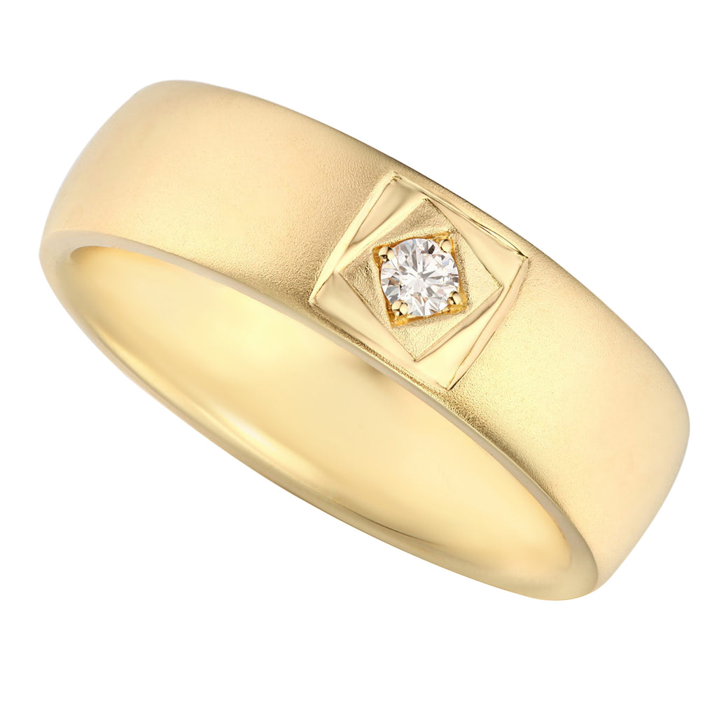 Sand Blasting Yellow Gold Diamond Ladies Wedding Ring