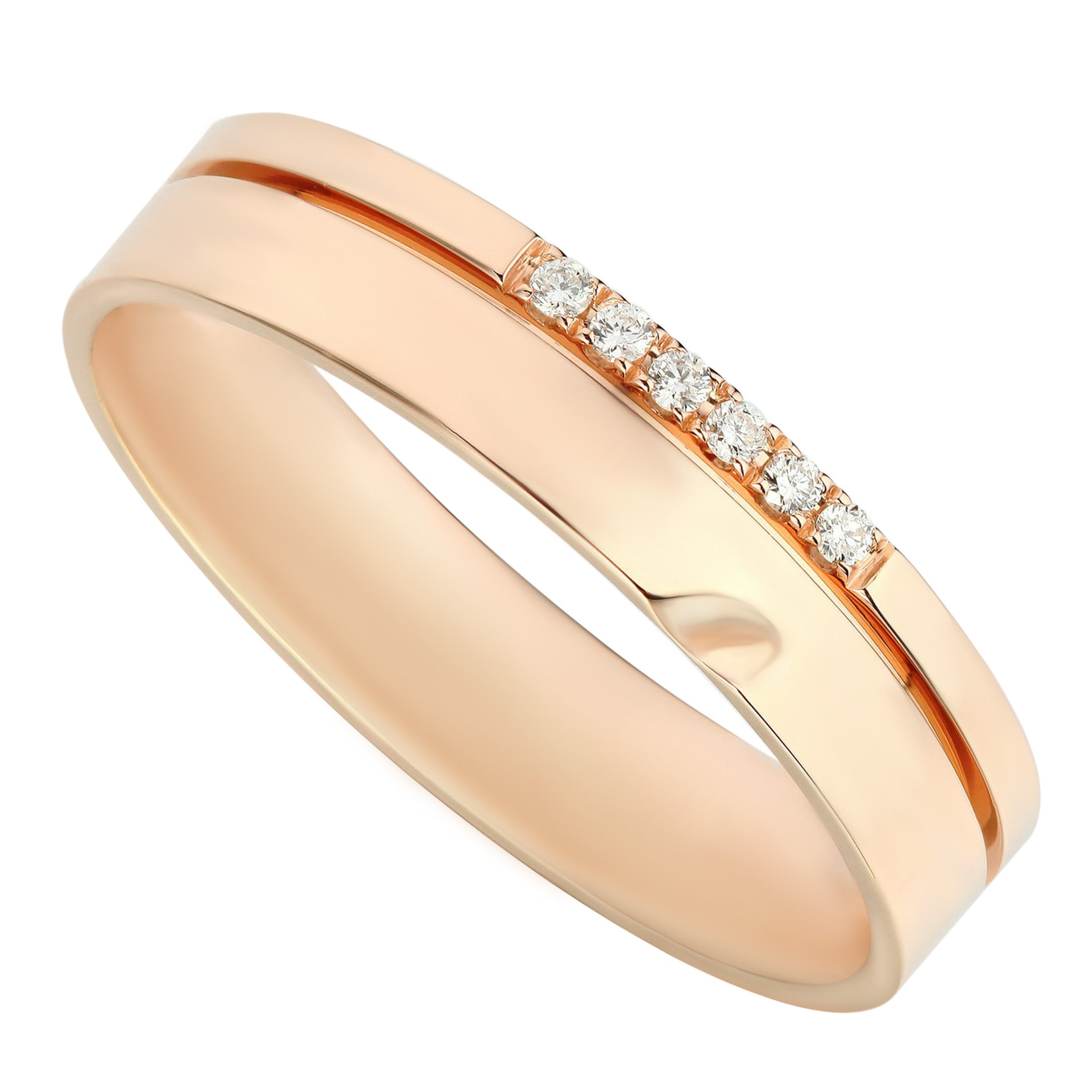 Lustrous Groove Rose Gold Diamond Men's Ring - KARP Jewellery
