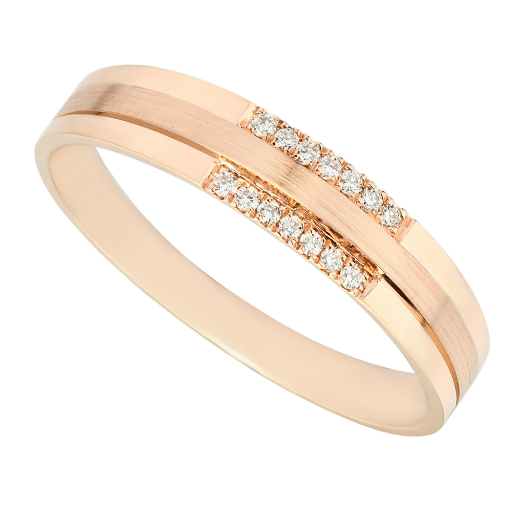 High Quality Polished Rose Gold Diamond Ladies Ring - KARP Jewellery