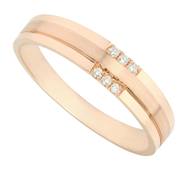 High Quality Polished Rose Gold Diamond Men's Ring