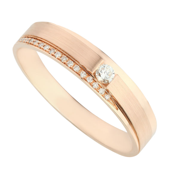 Comfort Fit Classic Rose Gold Diamond Men's Ring