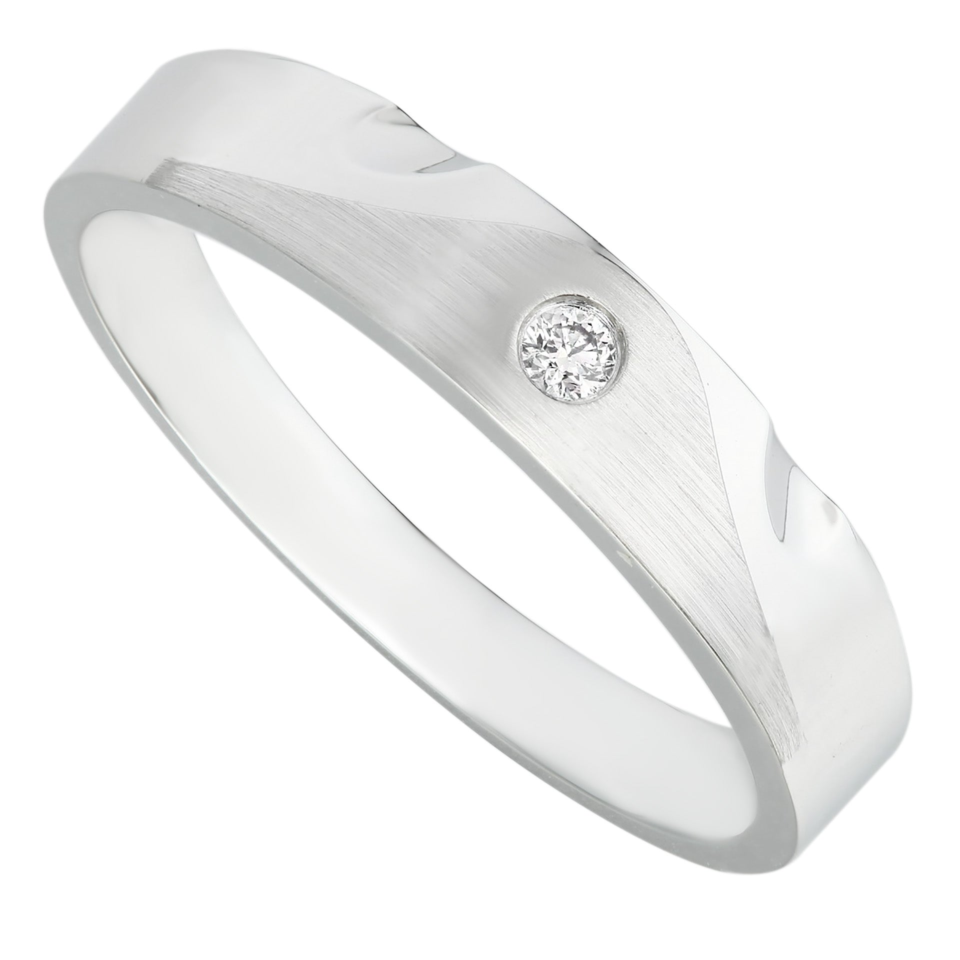 Modern Classic White Gold Bezel Set Diamond Men's Ring - KARP Jewellery