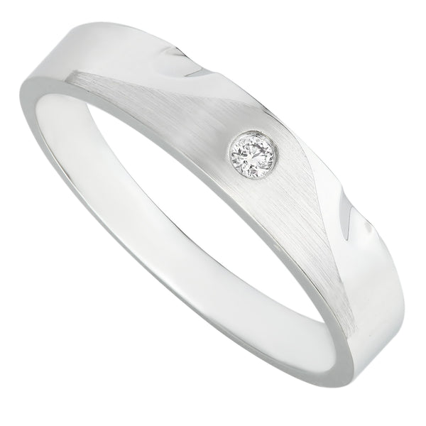 Modern Classic White Gold Bezel Set Diamond Men's Ring