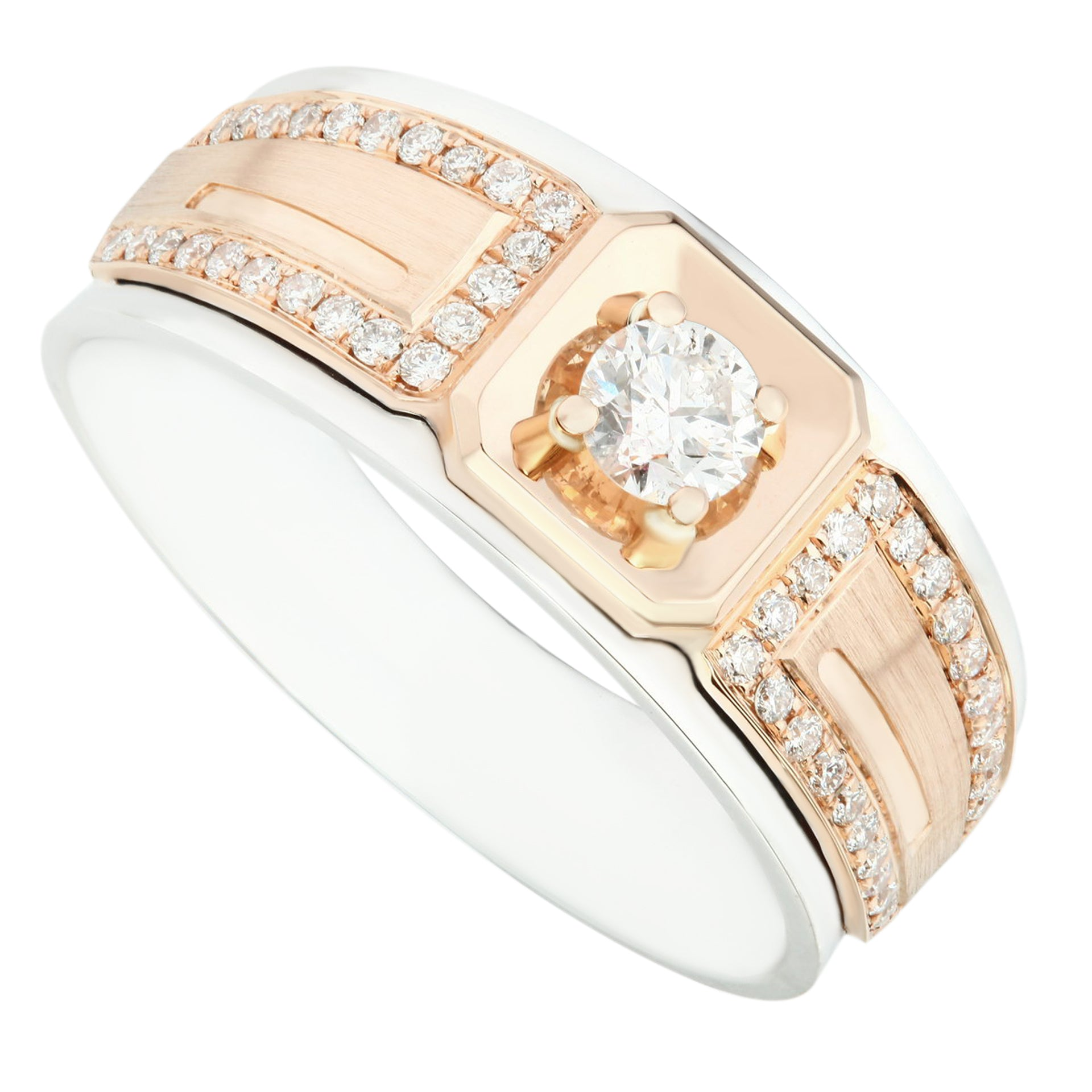 Distinctive Two Tone Gold & Diamond Men's Ring - KARP Jewellery