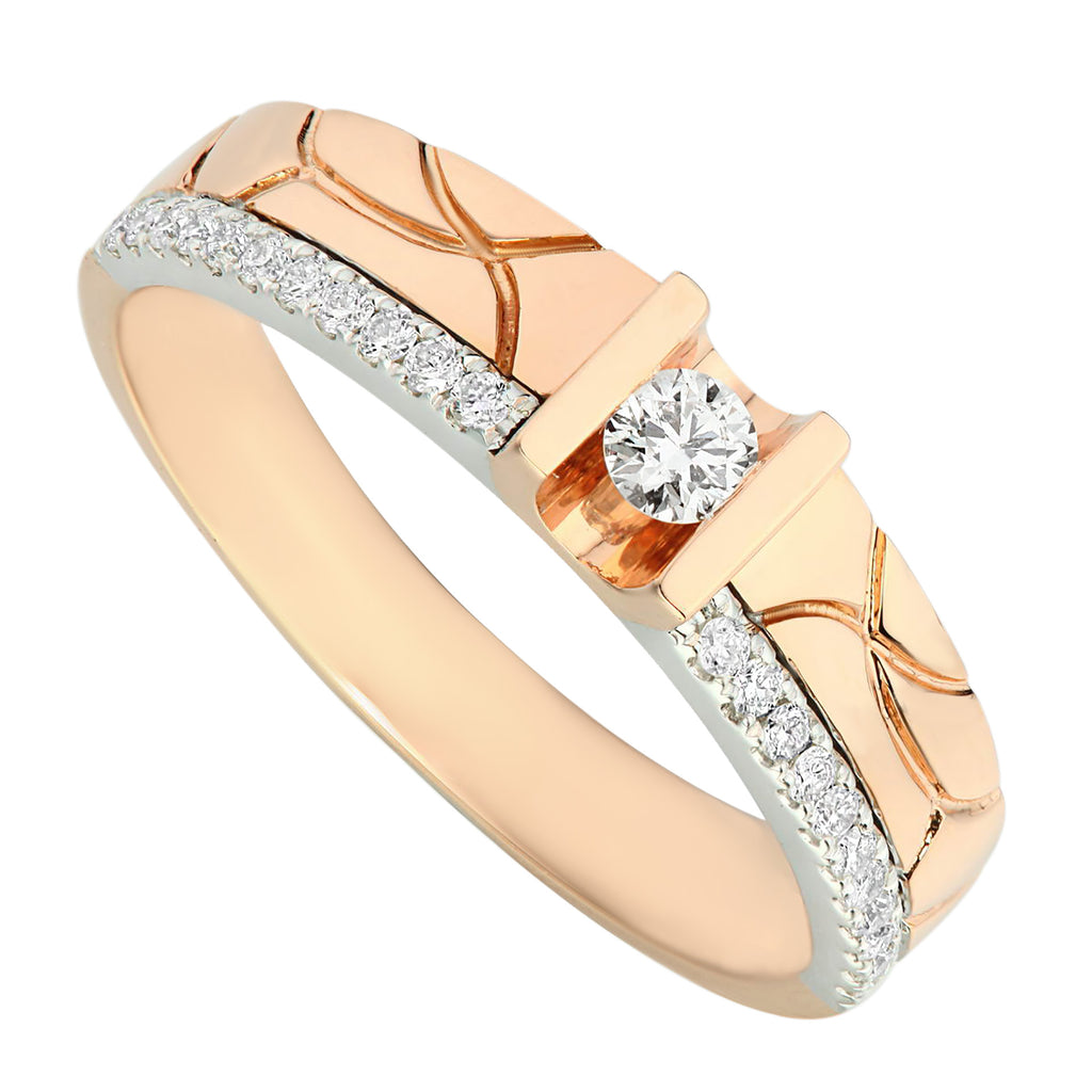 Classic Two Tones White & Rose Gold Diamond Men's Ring - KARP Jewellery