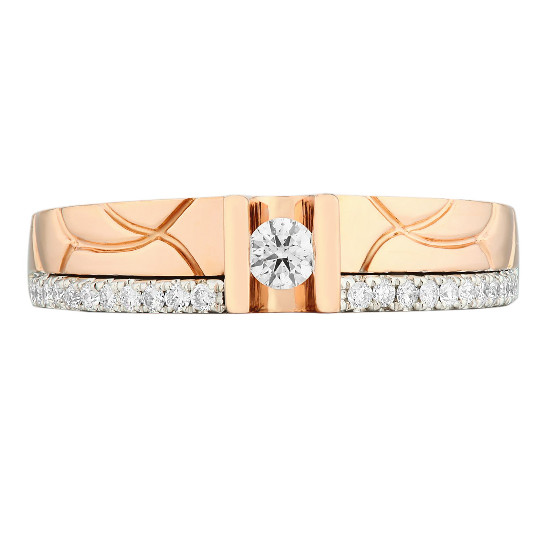 Classic Two Tones White & Rose Gold Diamond Ladies Ring - KARP Jewellery