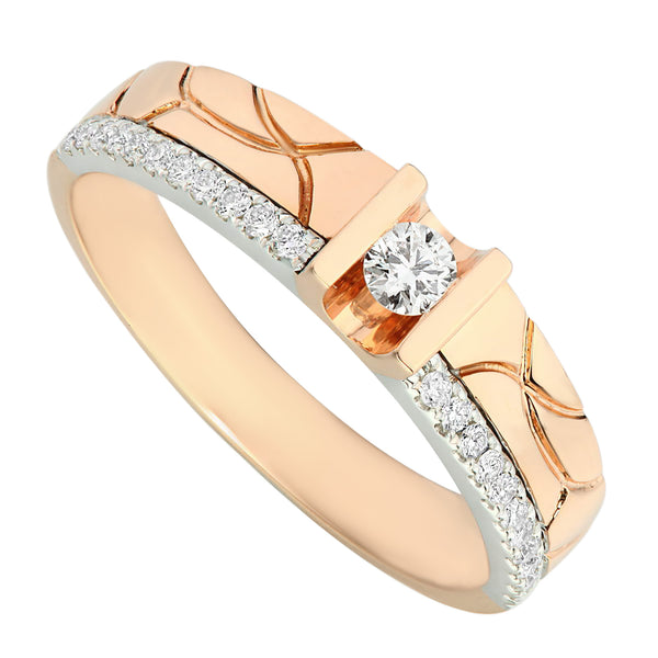 Classic Two Tones White & Rose Gold Diamond Men's Ring