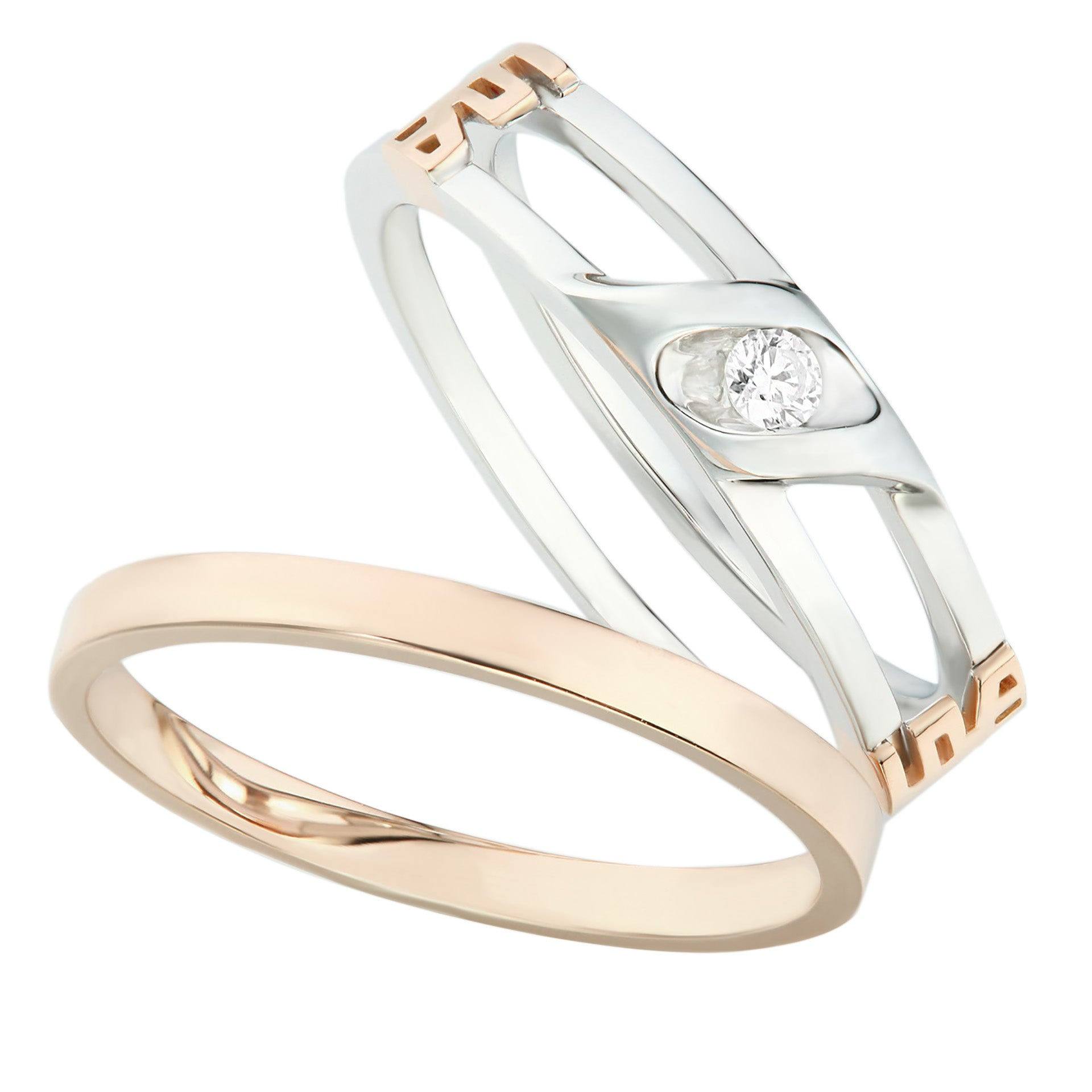 Detachable White & Rose Gold Diamond Ladies Ring - KARP Jewellery