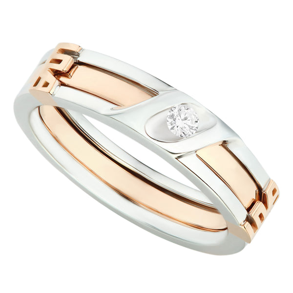 Detachable White & Rose Gold Diamond Men's Ring