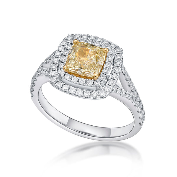 Yellow Diamond Cushion Cut Ring