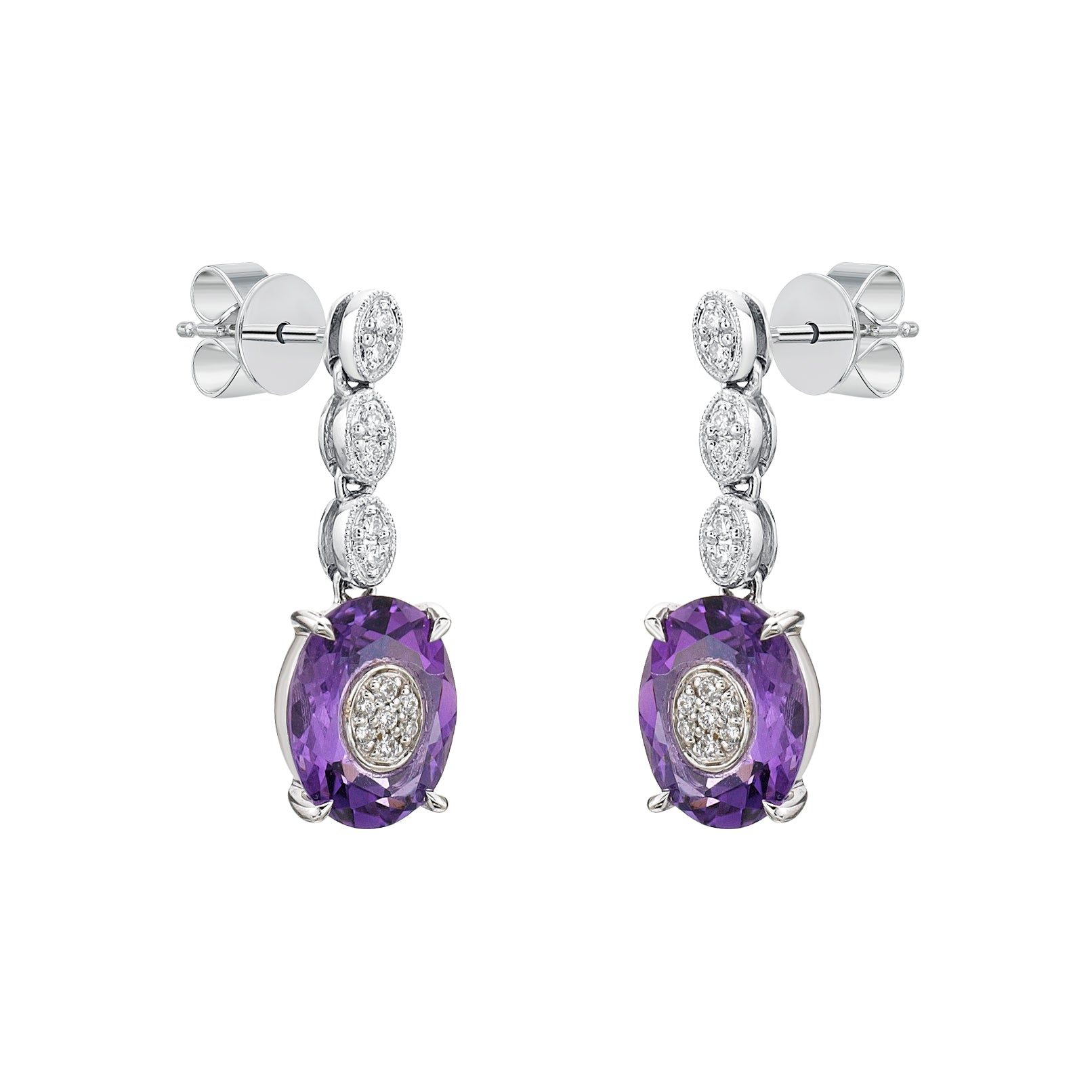 Purple Amethyst Diamond Dangle Earrings - KARP Jewellery