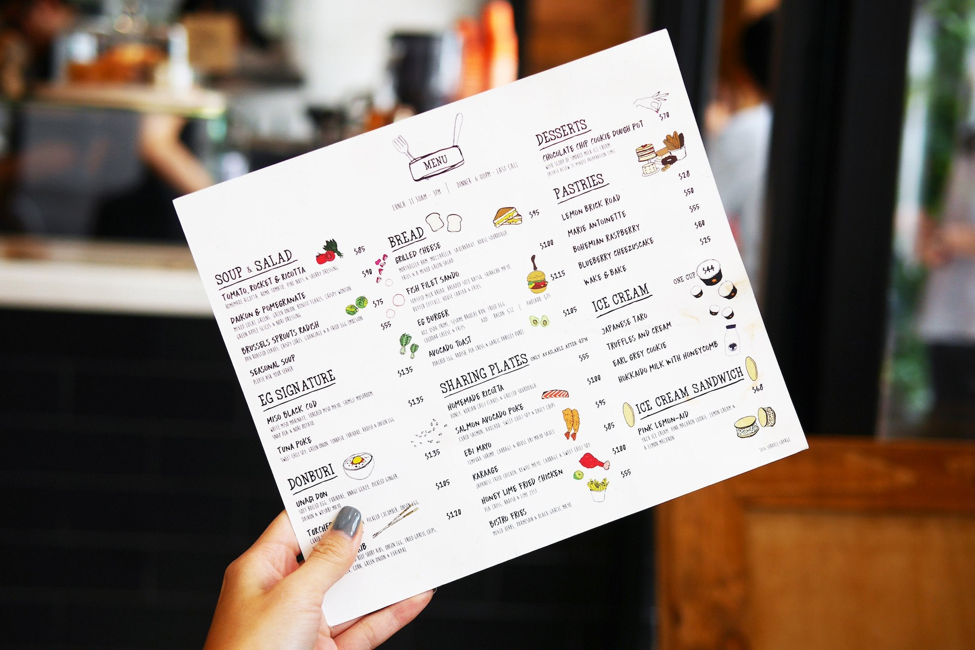 Menu design and Illustration for Elephant Grounds