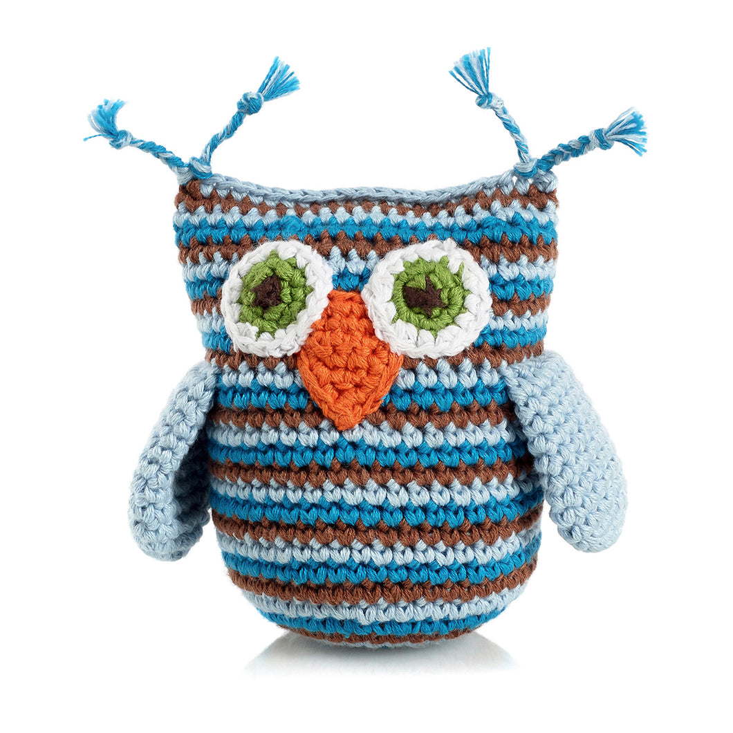 Pebble Rattle – Owl Blue 1