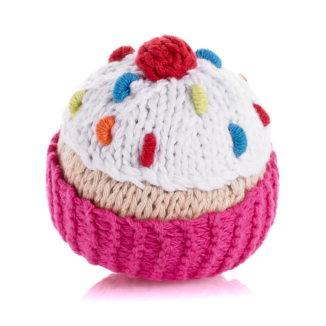 Pebble Food Rattle – Hot Pink Cupcake with icing & cherry