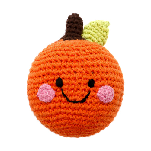Pebble Food Rattle – Friendly Orange front