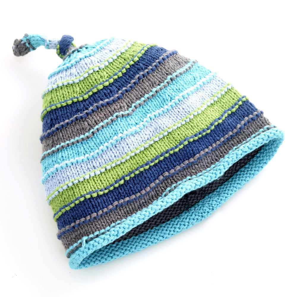 Pebble Hats – Blue Stripey